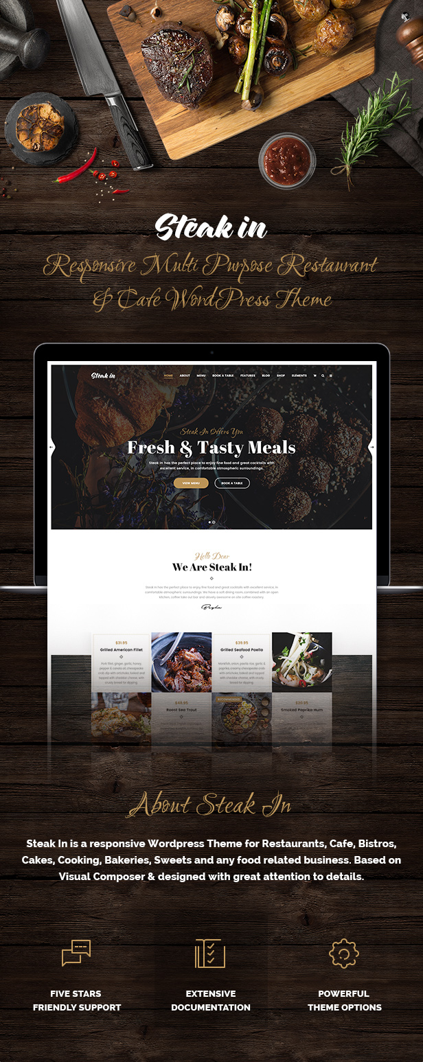 Steak In - Restaurant & Cafe WordPress Theme - 1